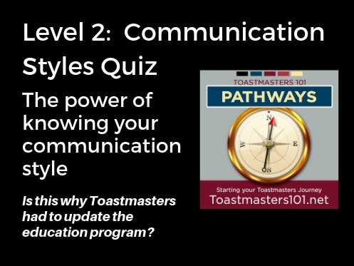 Level 2 Communication Style Quiz Toastmasters101