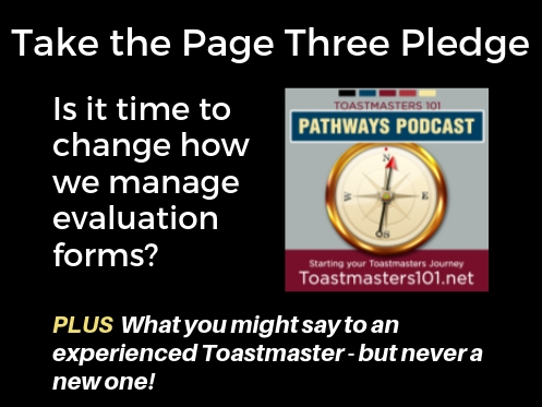 Take the Page 3 Pledge Toastmasters 101 podcast